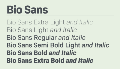 Bio Sans font samples