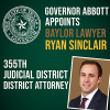 Governor Abbott Appoints Recent Baylor Law Graduate as District Attorney for the 355th Judicial District