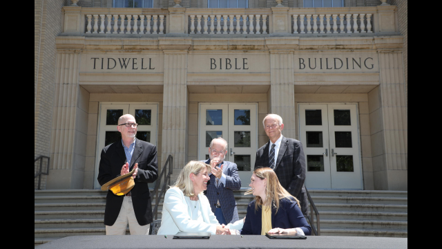 Tidwell Bible Building signing ceremony