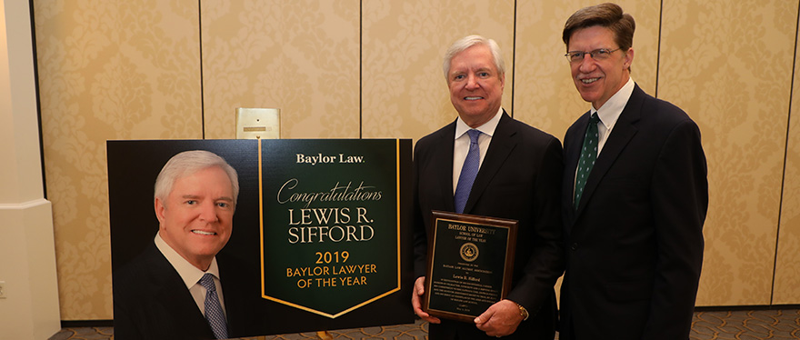Baylor Lawyer of the Year Lewis Sifford with Dean Toben