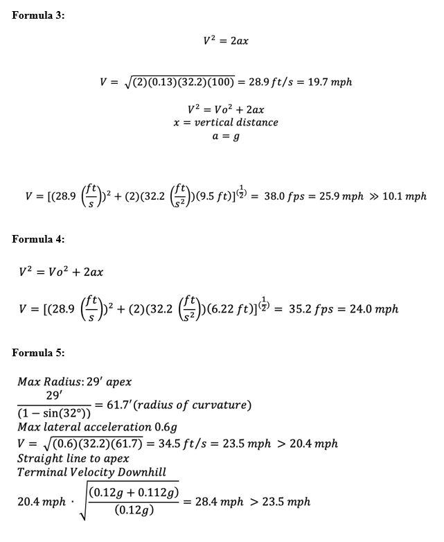 Mathematic equations to determine velocity, trajectory and radius