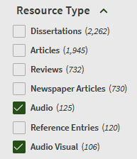 audio resource types in OneSearch