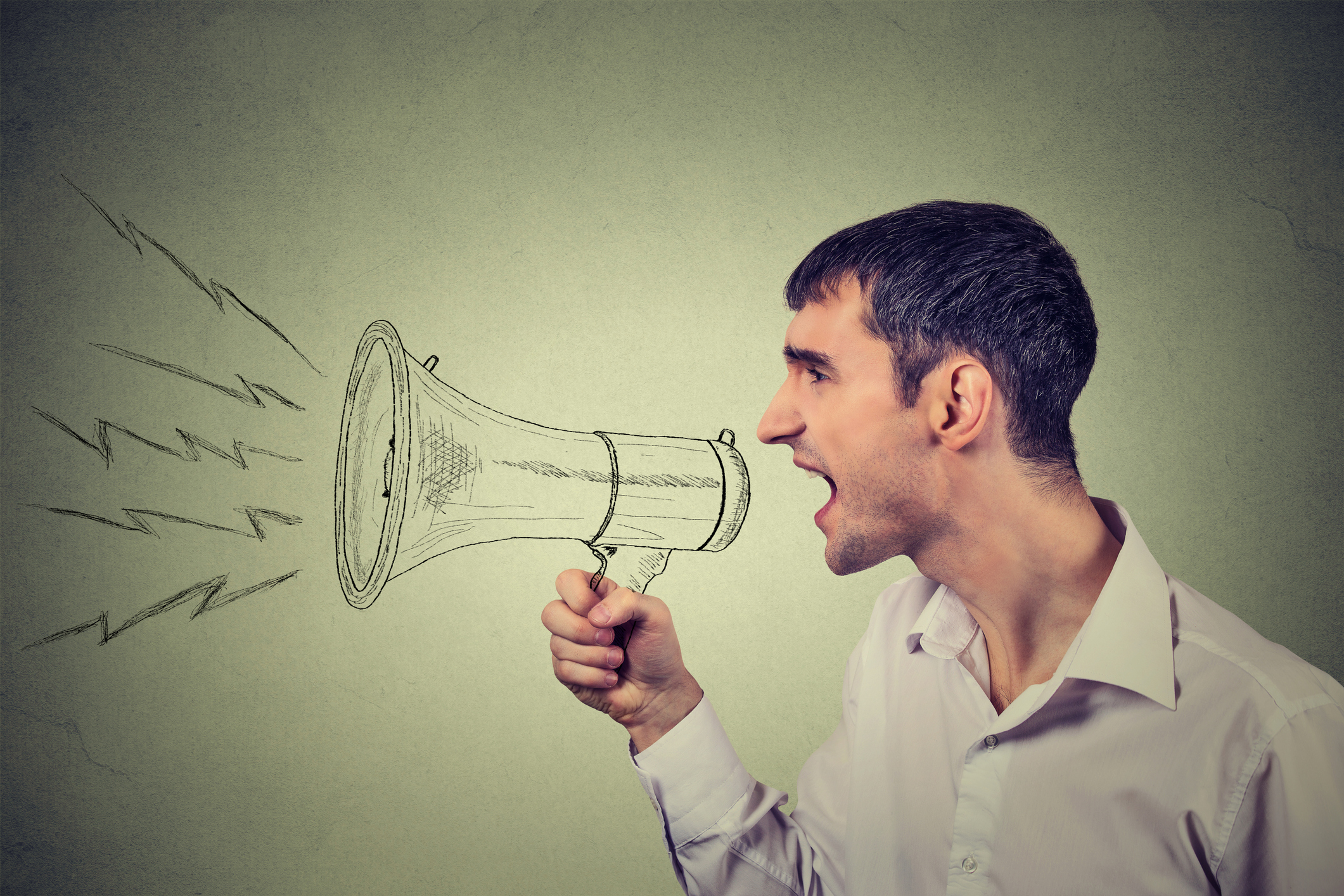Stylized photo of a man with a megaphone