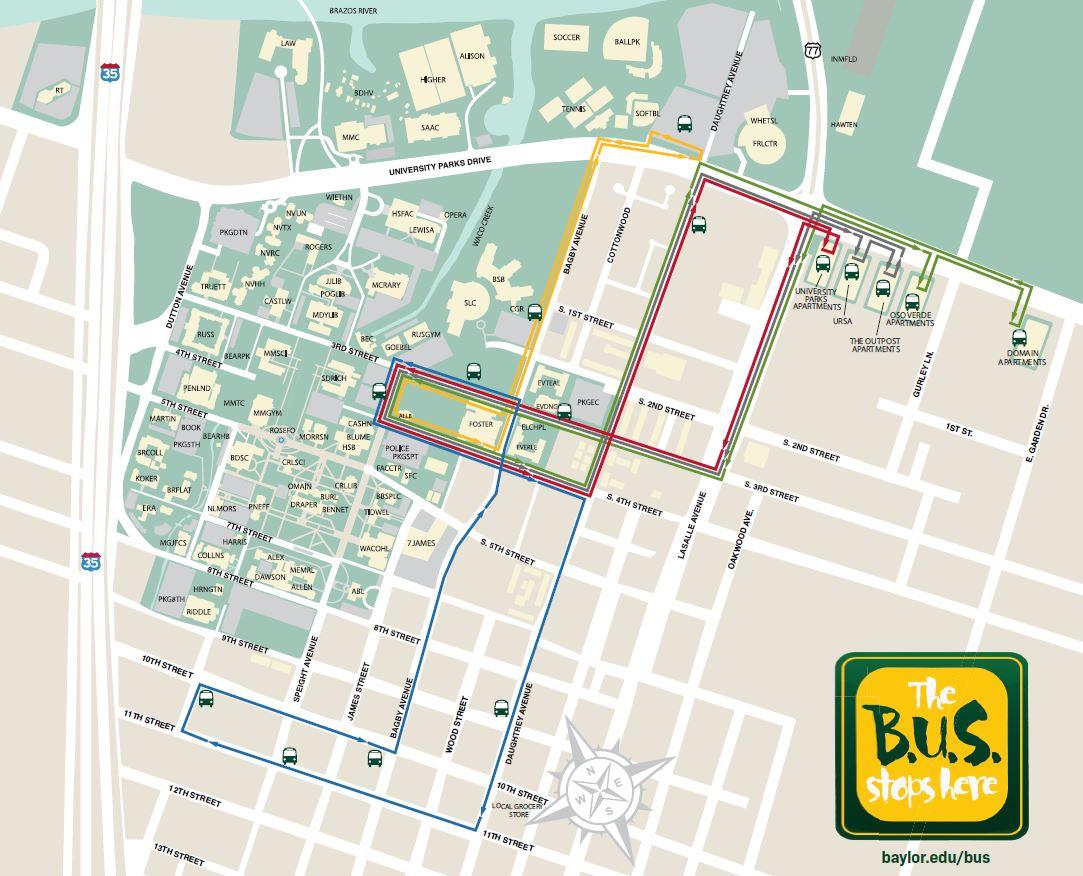 Baylor University Shuttle (BUS) | Department of Public ... on new jersey bus map, greensboro bus map, hoboken bus map, grand rapids bus map, corvallis bus map, louisville bus map, missoula bus map, santa ana bus map, cleveland bus map, ct bus map, california bus map, savannah bus map, south bend bus map, santa rosa bus map, norwalk bus map, sag harbor bus map, detroit bus map, albuquerque bus map, worcester bus map, buffalo bus map,