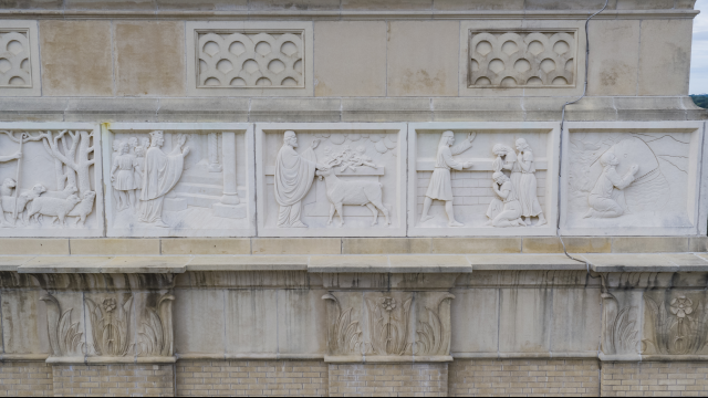 Tidwell Bible Building Limestone Carvings Close Up