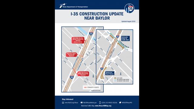 Baylor I-35 construction update map Aug 2019