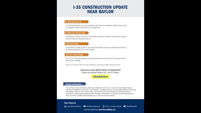 Baylor I-35 construction update August 2019