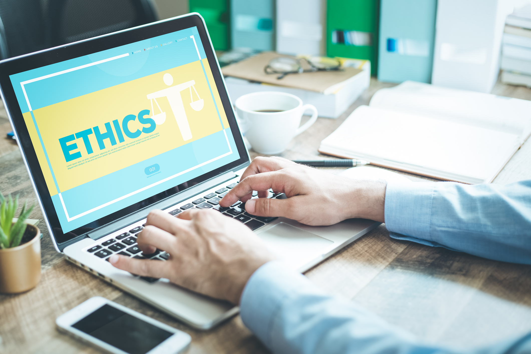 Stock Photo of a laptop browsing ethics