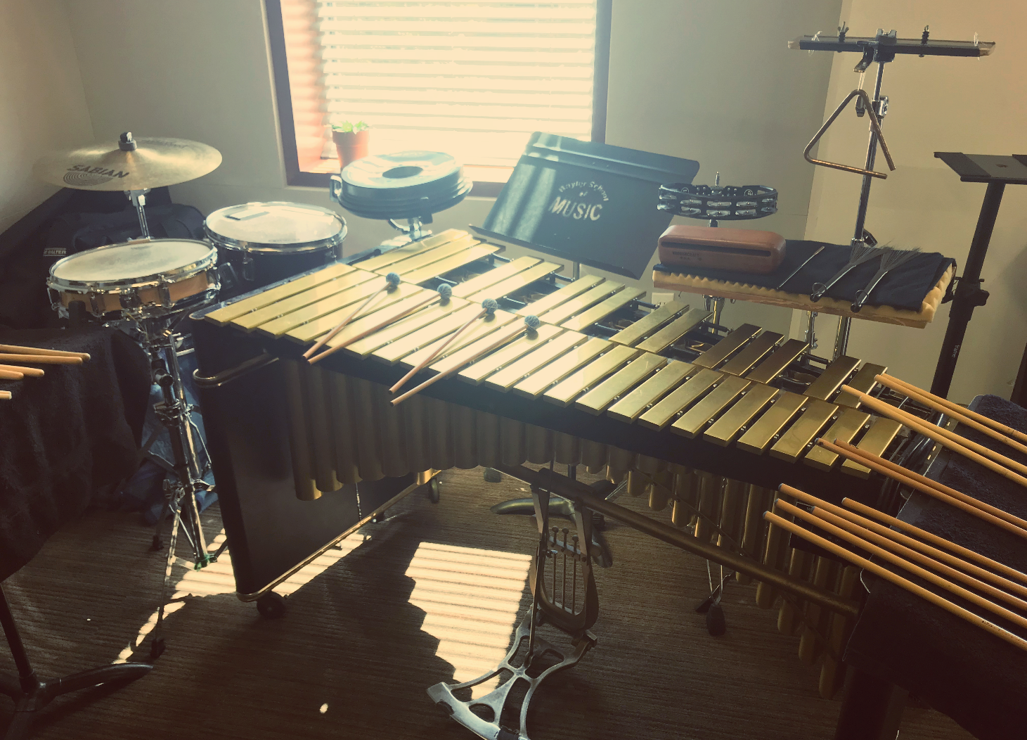Percussion instruments set up in the composition lab