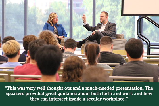 Image of a speaker in front of a crowd and a quotation that says, 'This was very well thought out and a much-needed presentation. The speakers provided great guidance about both faith and work and how they can intersect inside a secular workplace.'