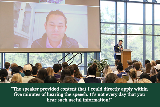 Image of a guest speaker on a screen with a quotation that says, 'The speaker provided content that I could directly apply within five minutes of hearing the speech. It's not every day that you hear such useful information!'