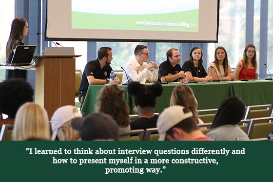 Image of a panel of speakers on a stage with a quotation that says, 'I learned to think about interview questions differently and how to present myself in a more constructive, promoting way.'