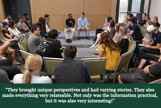 A group of seated students listening to two seated speakers and a quotation that says, 'They brought unique perspectives and had varying stories. They also made everything very relatable. Not only was the information practical, but it was also very interesting!'