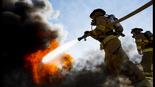 firefighters flames