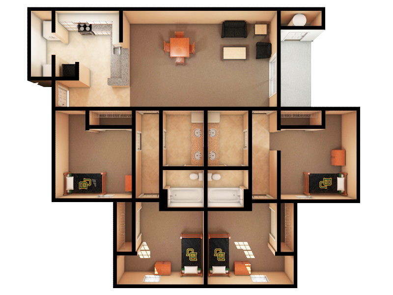 Apartment up to four bedroom