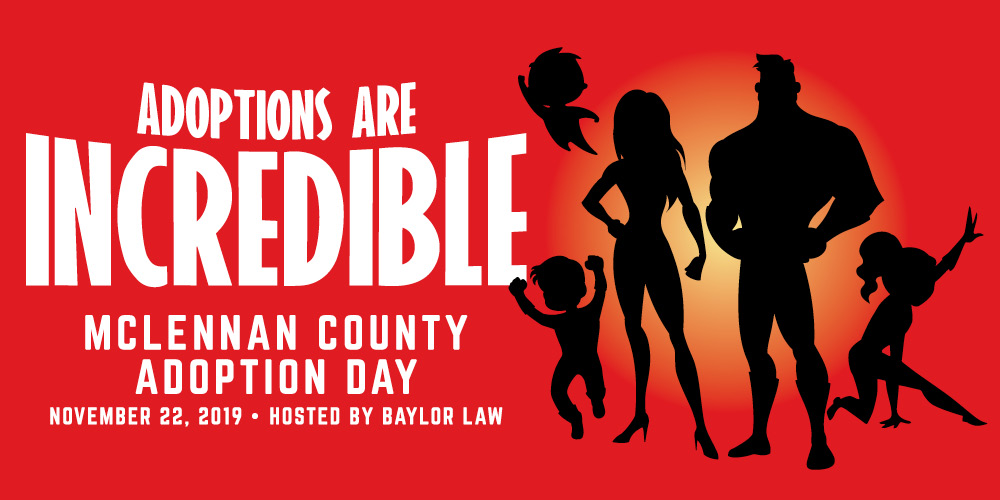 Silhouettes of super heroes Announcing Adopton Day 2019