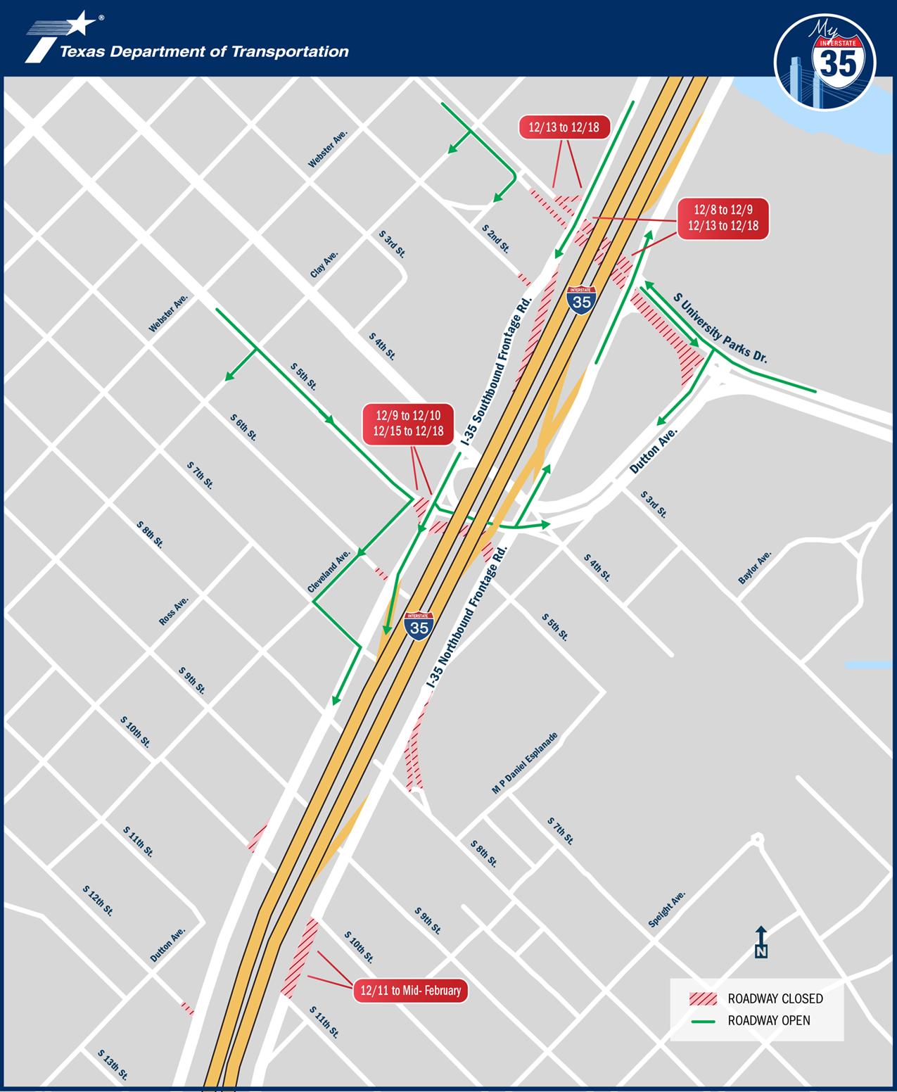 Dec 2019 I-35 Closures Map