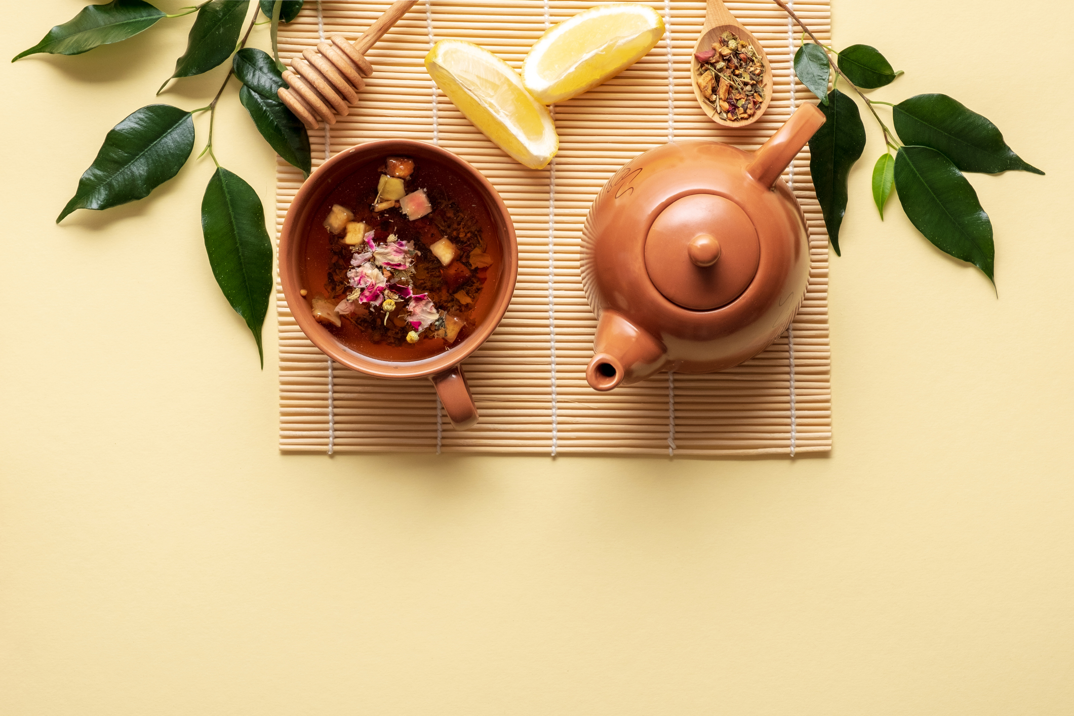 stock photo of prepared tea and a teapot