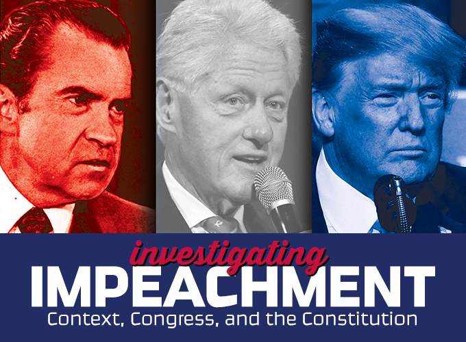 banner showing Presidents Nixon, Clinton, and Trump: Investigating Impeachment