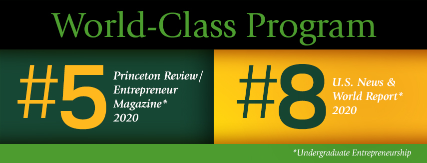 Baylor Entrepreneurship, World Class Program, #5 Princeton Review, #8 US News and World Report