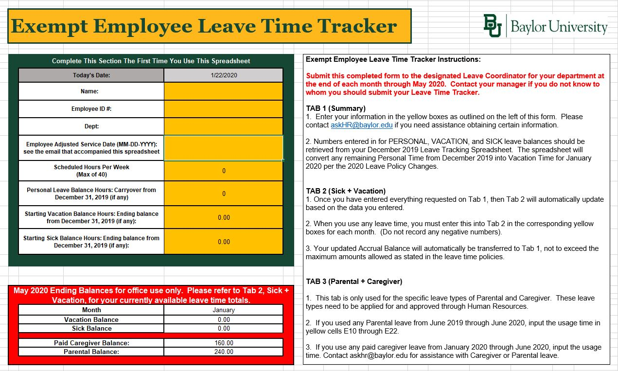 Tab 1 Exempt Employee Leave Time Tracker
