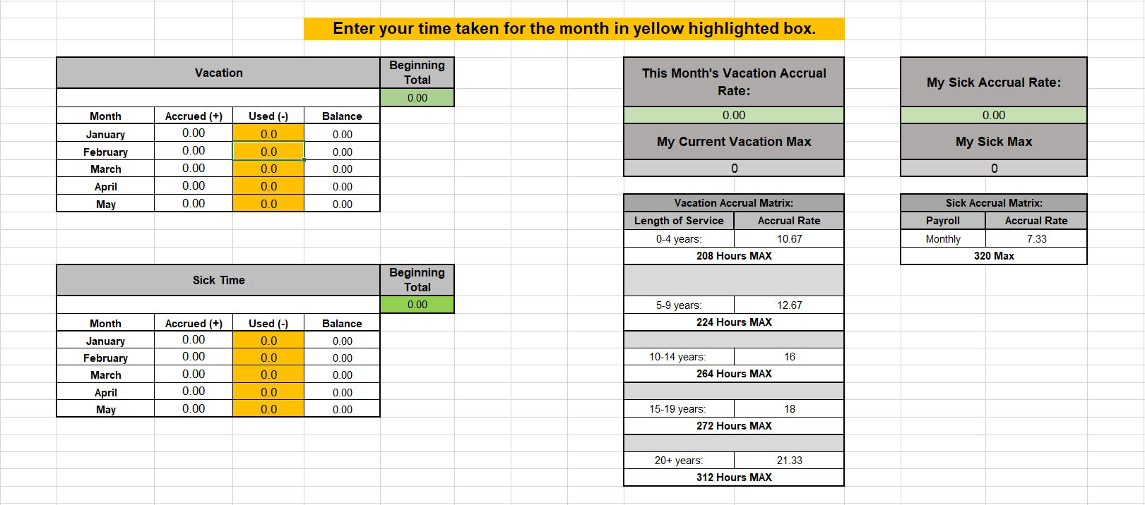 Tab 2 Exempt Employee Leave Time Tracker