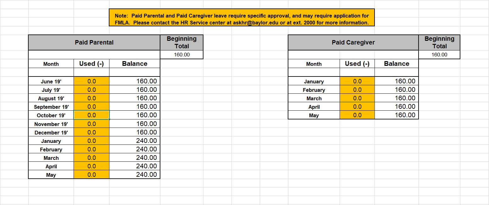 Tab 3 Exempt Employee Leave Time Tracker