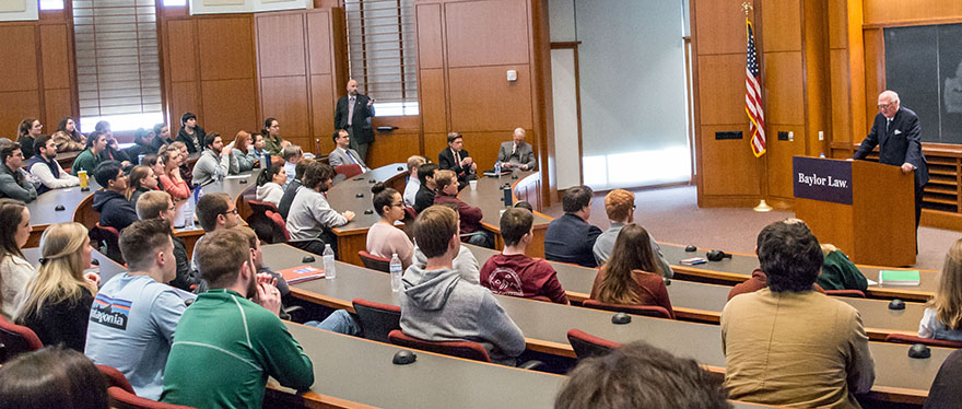 Baylor Law Classroom full to listen to Ambassador Olson