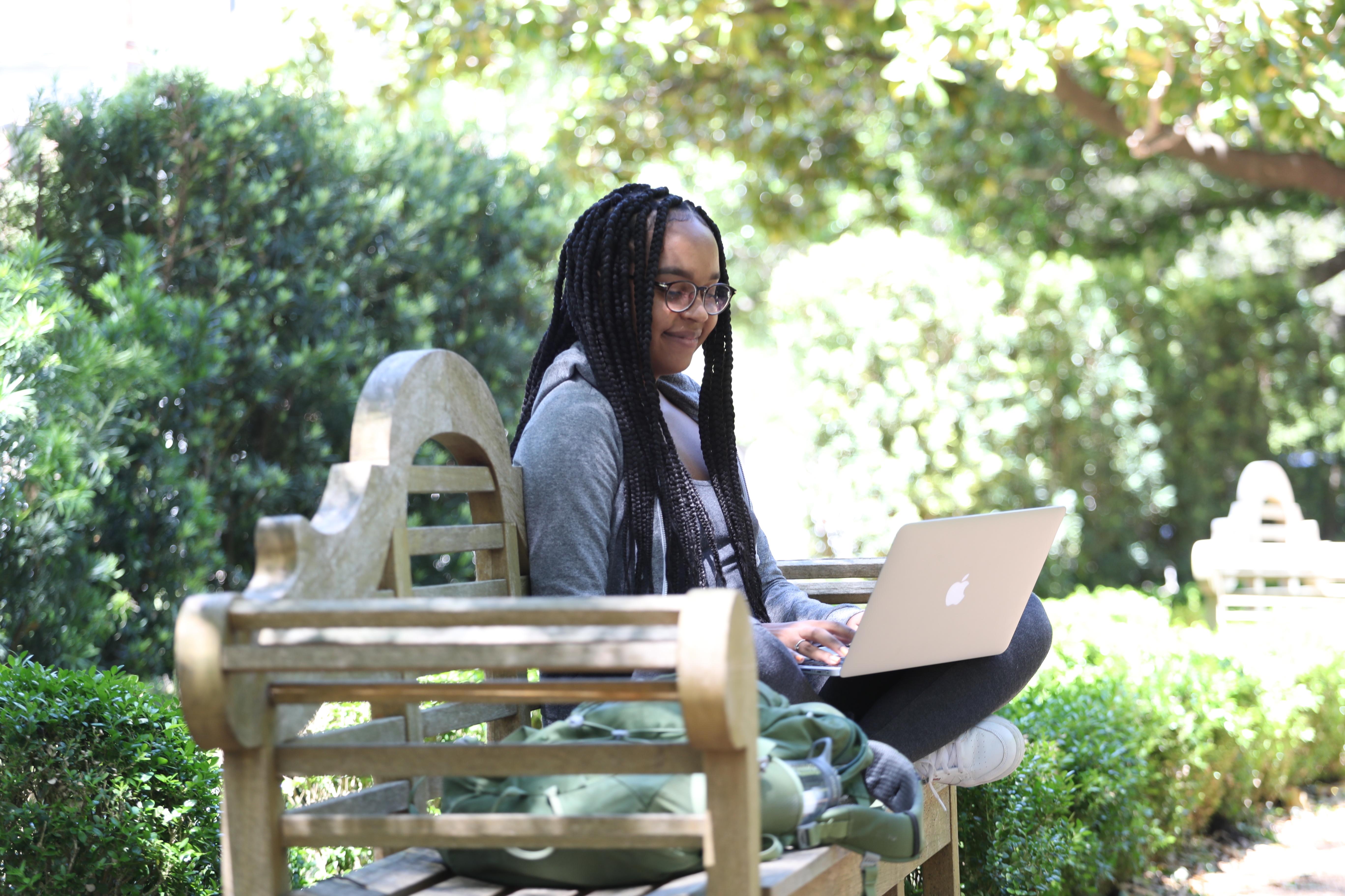 Girl studying outside