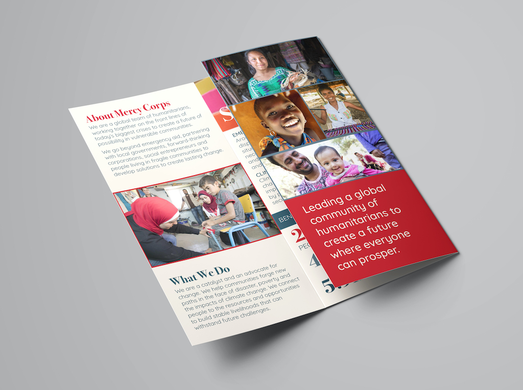Mercy Corps Brand Redesign, Brochure (Detail 1), Jenna Howard