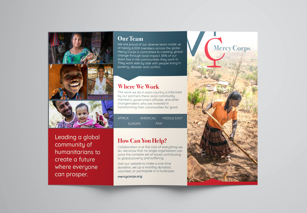 Mercy Corps  Brand Redesign, Brochure (Detail 2, Exterior Panels), Jenna Howard