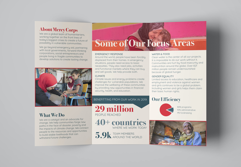 Mercy Corps Brand Redesign, Brochure (Detail 3, Interior Panels), Jenna Howard