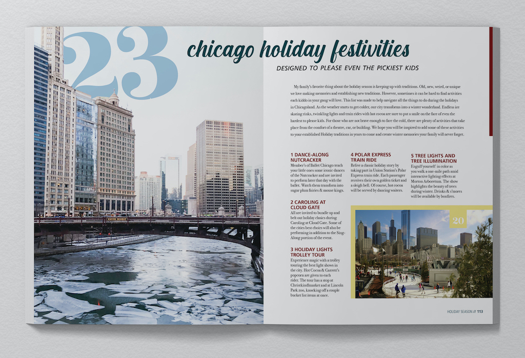Chicagoan: December Issue with Magazine Spreads (Detail, Spread 1), Jenna Howard