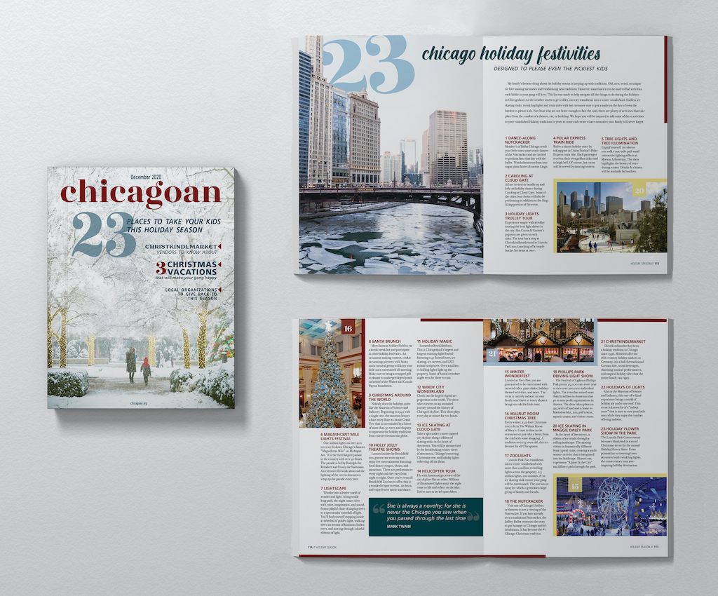 Chicagoan: December Issue with Magazine Spreads, Jenna Howard