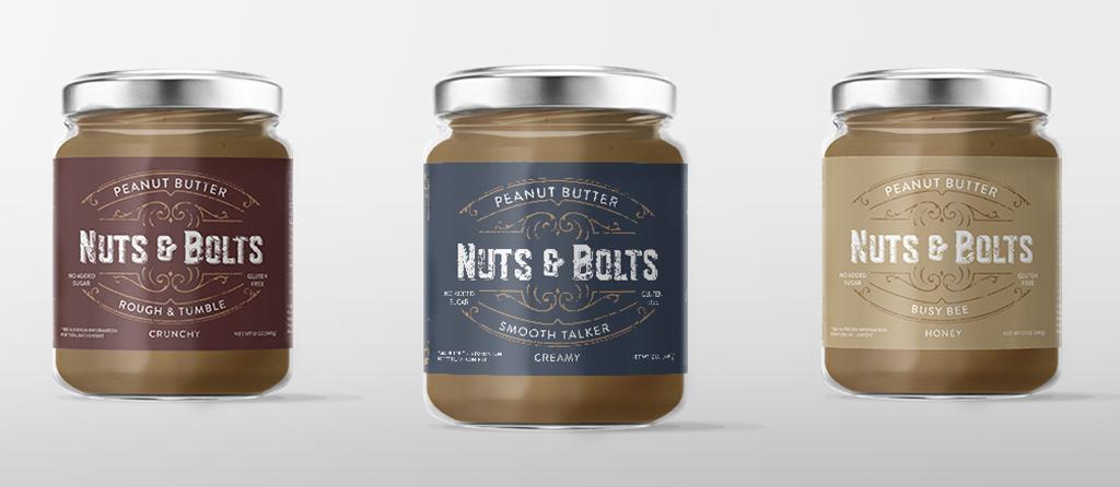 Nuts & Bolts Peanut Butter Package Design (Details), Harris Huckabee
