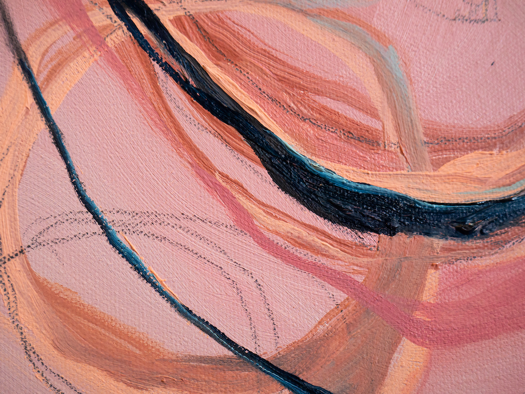 Prayers and Promises (Detail 2), Allison Overpeck, Oil and graphite on canvas