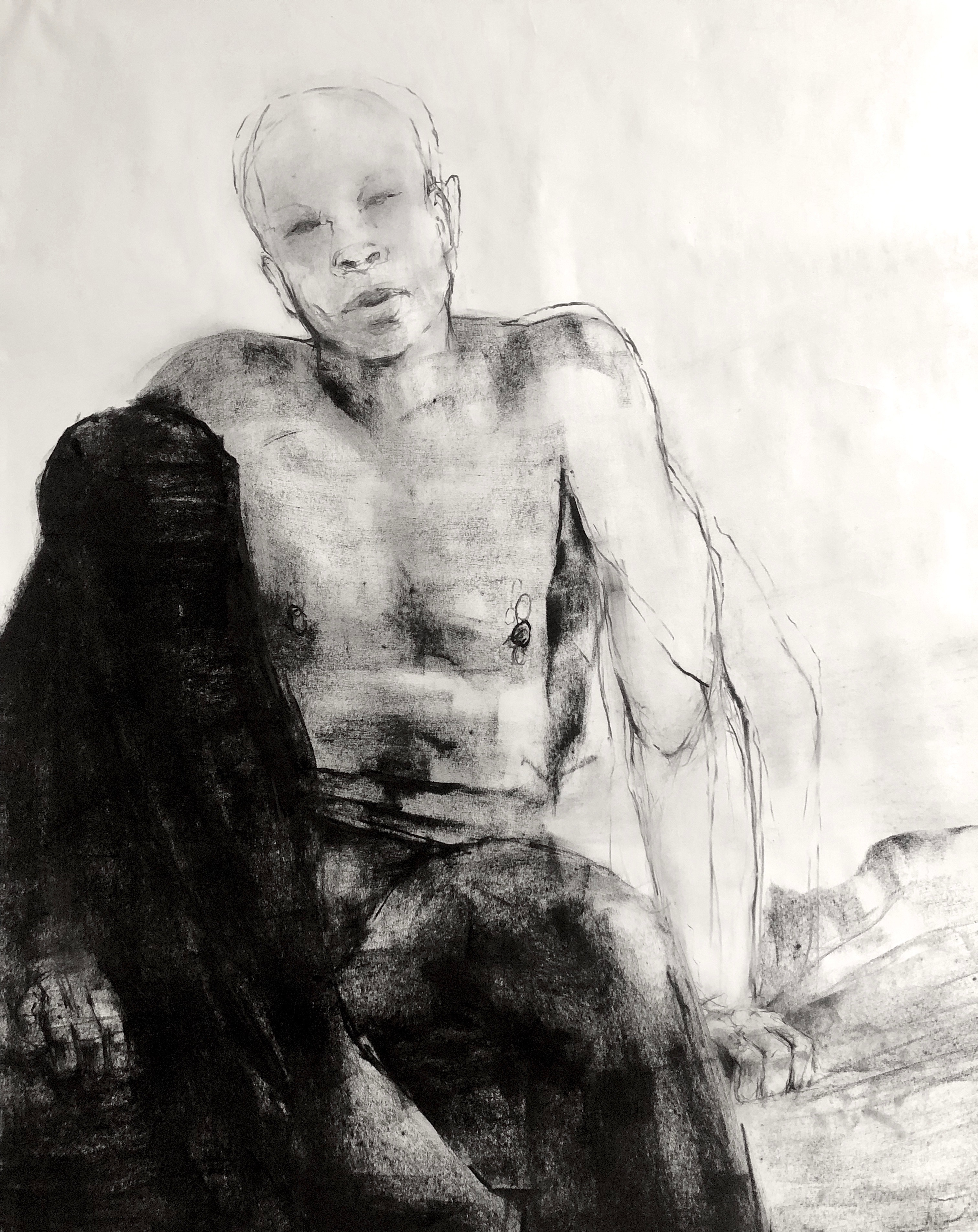 Redbone, John Singletary, 2020, Charcoal and oil on newsprint, 24 x 36