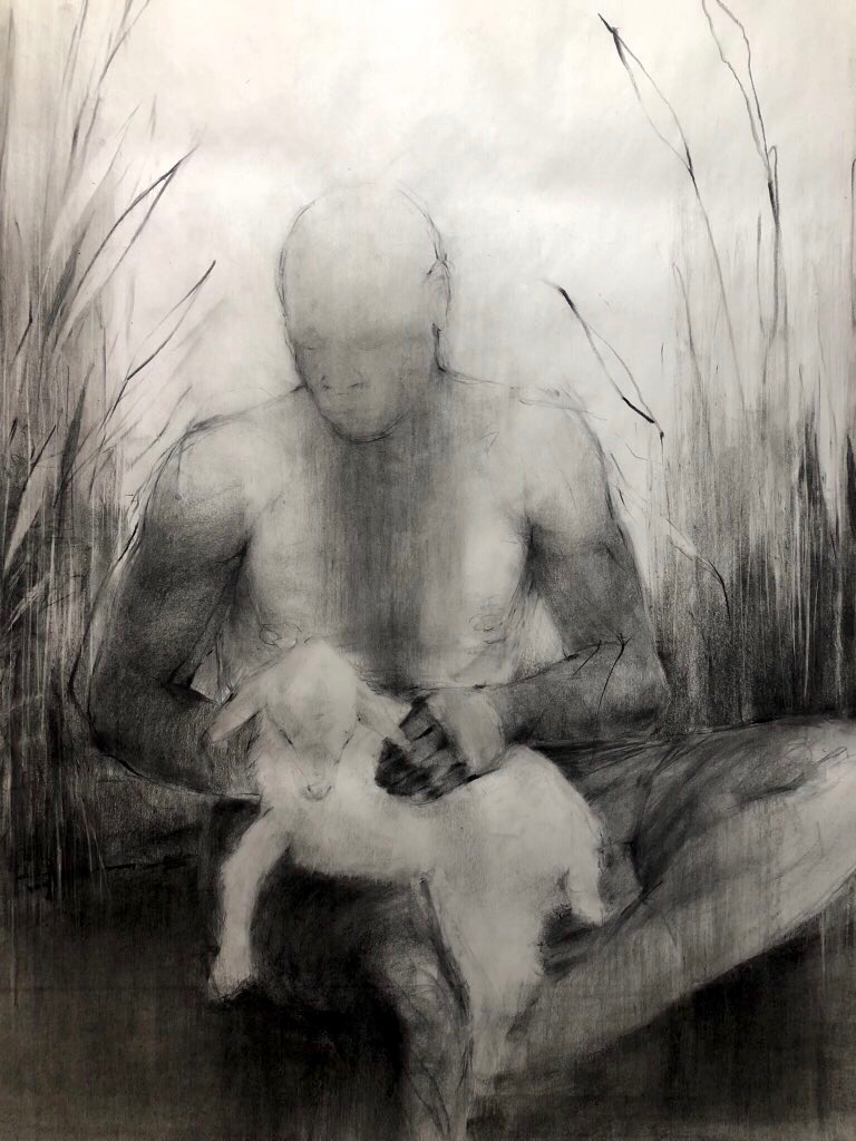 Old man sorrow's / Come to keep me company / Whispering beside me / When I say my prayers, John Singletary, 2020, Charcoal and oil on newsprint, 24 x 36