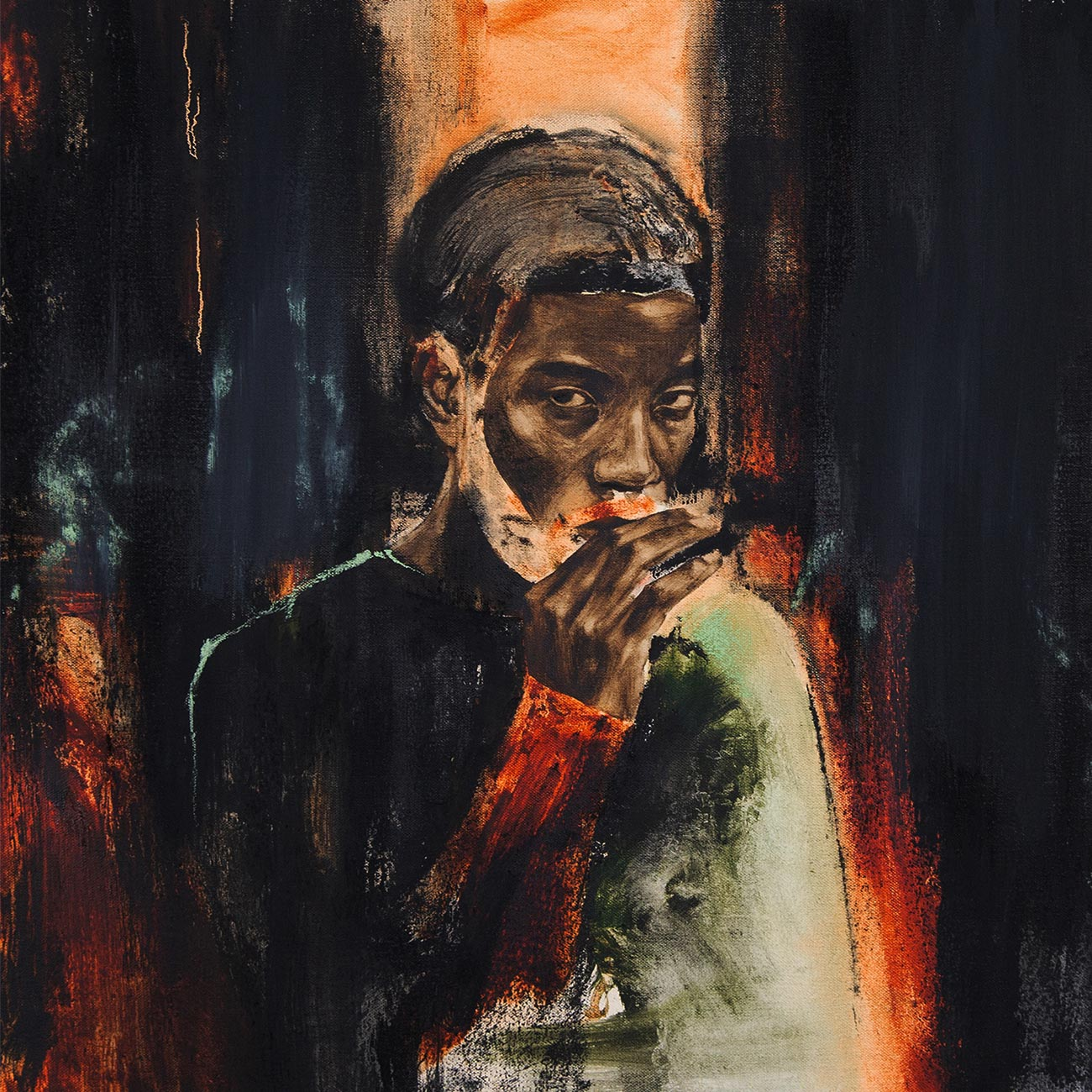 Devil's Pie, John Singletary, 2019, Oil and charcoal on canvas, 23 x 23