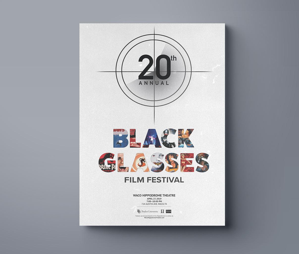 Black Glasses Film Festival Poster Design, Rachel Love