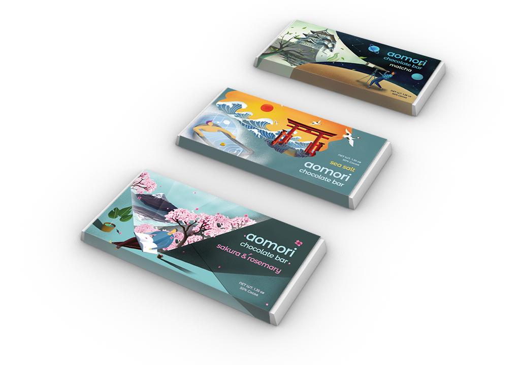 Aomori Chocolate Bar Package Design, Zitian Zhou