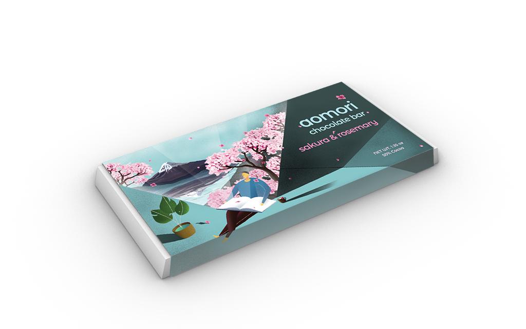 Aomori Chocolate Bar Package Design (Detail 1), Zitian Zhou