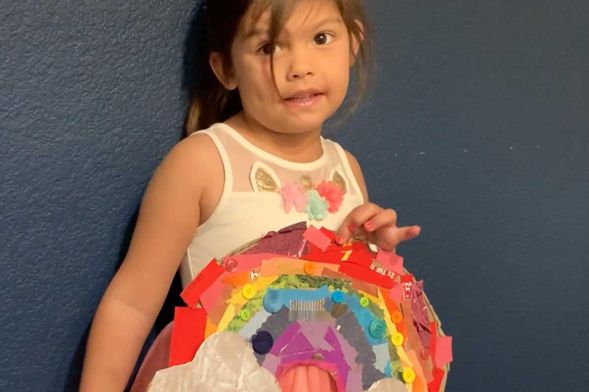 Mayborn at Home- Cardboard Rainbow Collage
