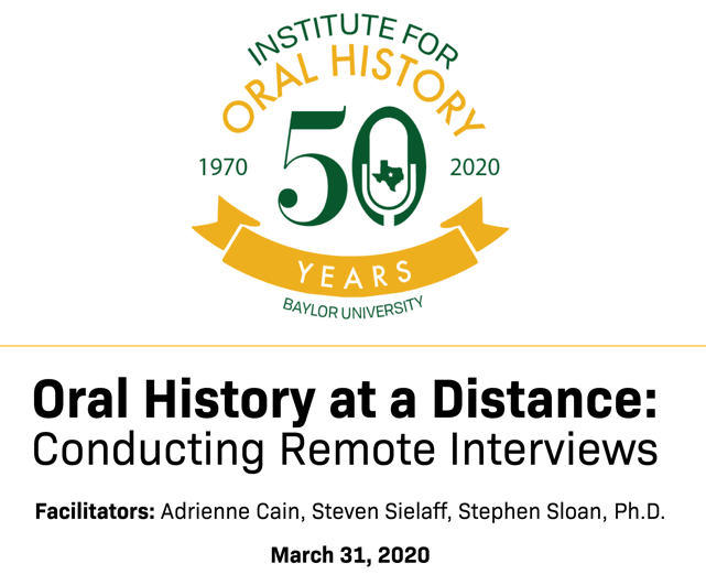 Banner for Institute for oral history