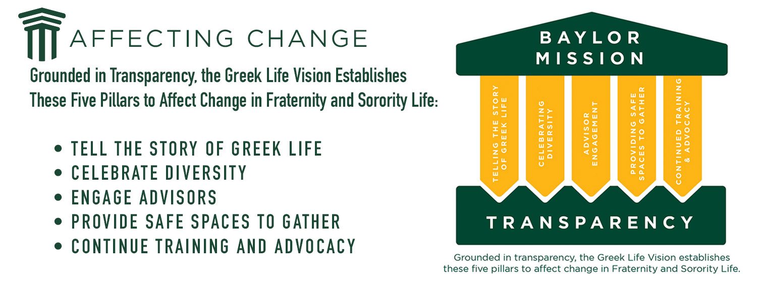 Affecting Change: Grounded in Transparency, the Greek Life Vision Establishes These Five Pillars to Affect Change in Fraternity and Sorority Life - Tell the story of Greek Life, Celebrate Diversity, Engage Advisors, Provide Safe Spaces, Training and Advocacy