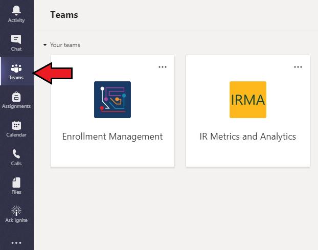 Microsoft Teams Menu Navigation Image