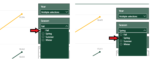 Comparison Image showing report menu selection differential