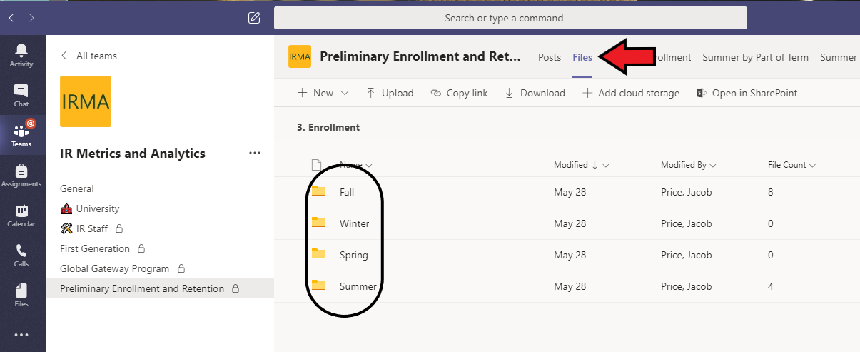 Example of Selecting Folders in Teams