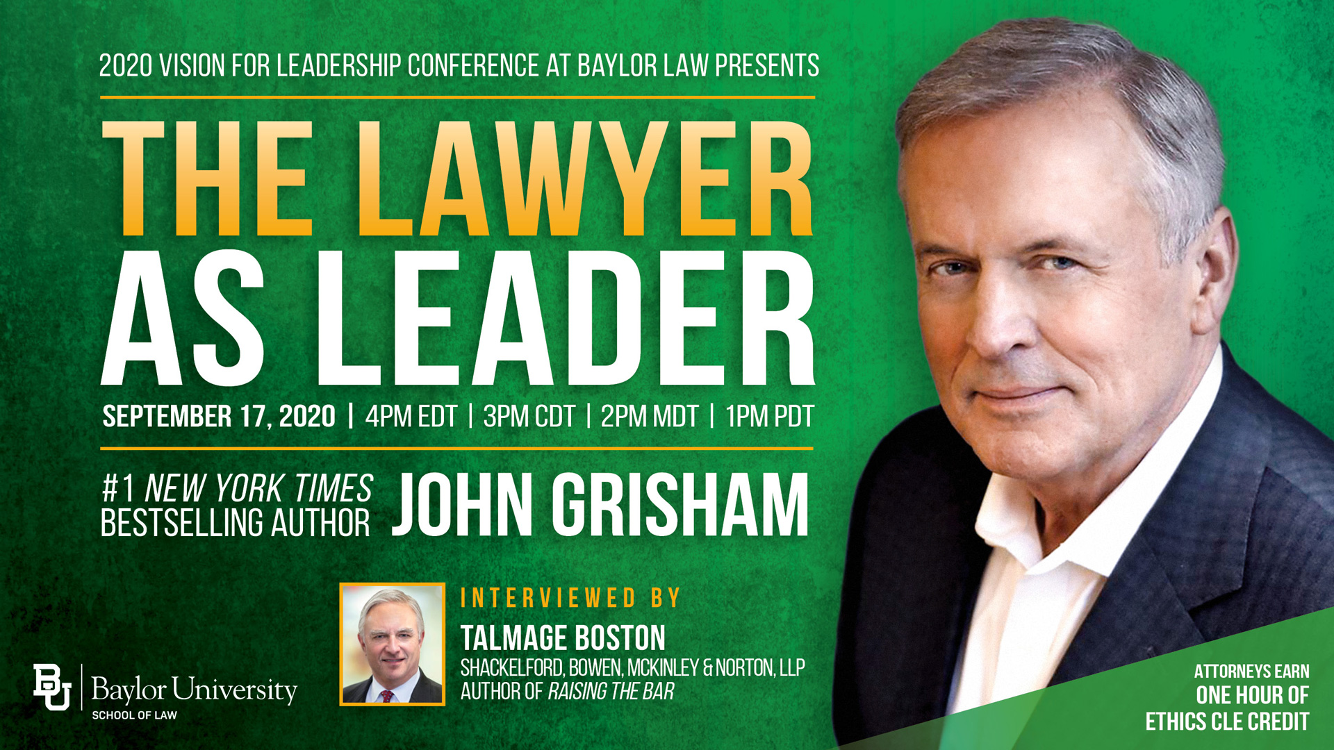 Banner image for John Grisham Session at Vision for Leadership Conference