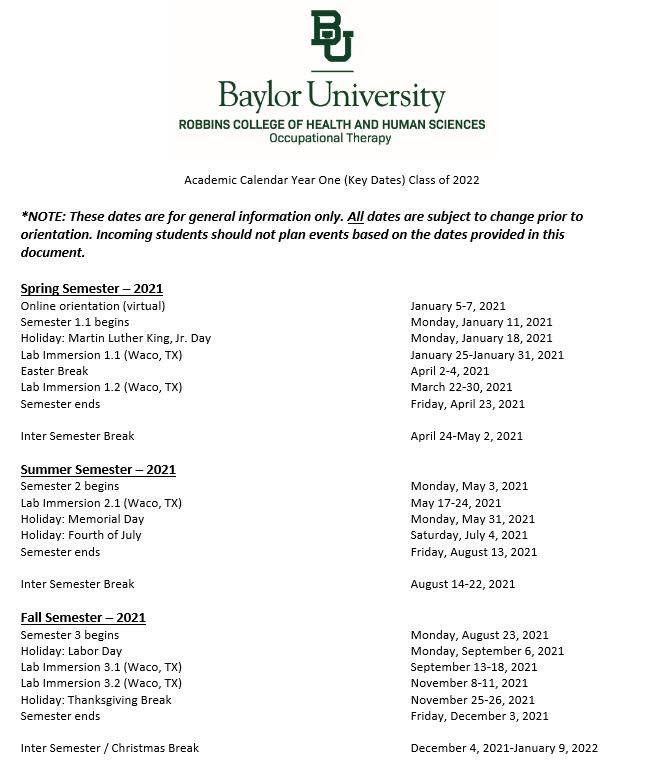 Baylor University Calendar 2021